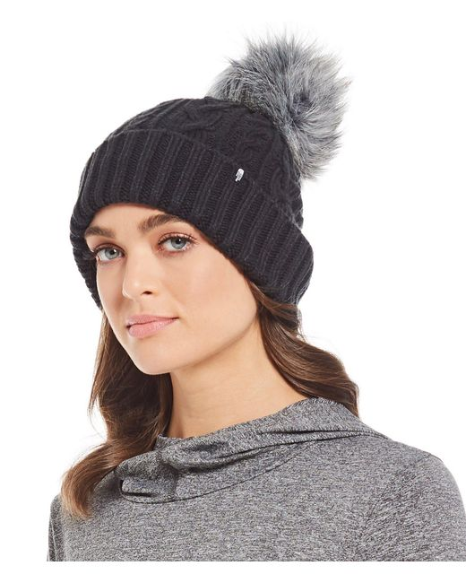 The North Face - Black Ladies' Oh-mega Faux-fur Pom Beanie - Lyst