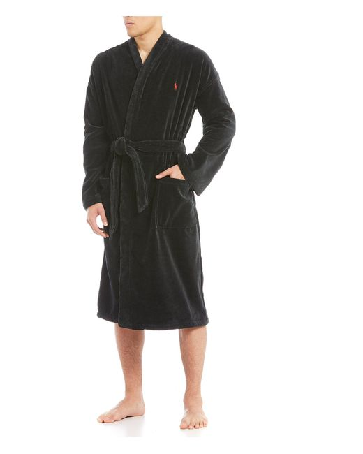 Polo Ralph Lauren - Black Velour Kimono Robe for Men - Lyst