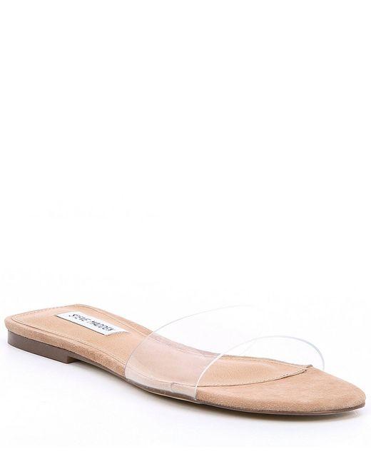 479e7b43e94 Steve Madden - Pink Bev Clear Slide Sandals - Lyst ...