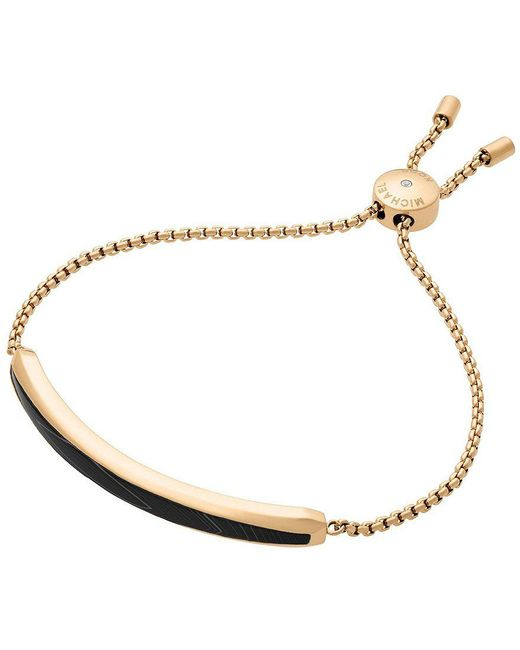 Michael Kors | Metallic Cool & Classic Gold-tone And Black Agate Slider Bracelet | Lyst