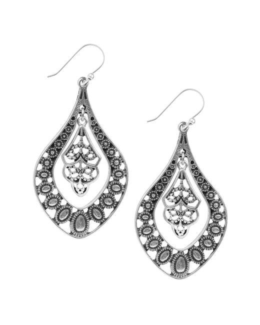Lucky Brand - Metallic Silver Filigree Oblong Drop Earrings - Lyst