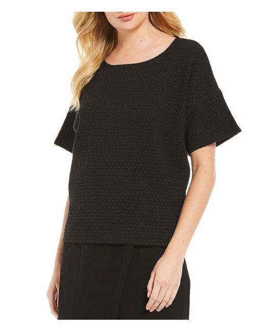 Eileen Fisher Black Ballet Neck Short Bracelet Sleeve Texture Top