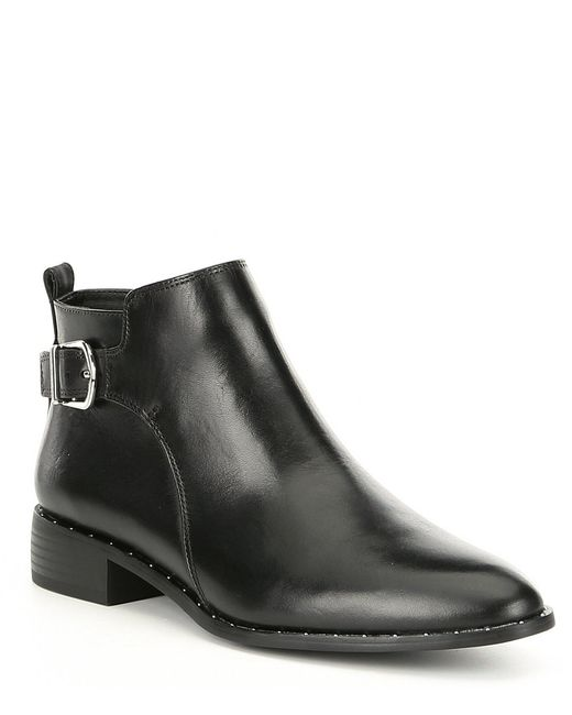 Steve Madden - Black Chavi Leather Block Heel Booties - Lyst