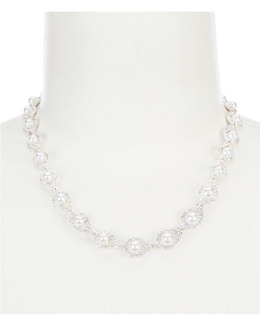 Anne Klein - Metallic Pave Pearl Collar Necklace - Lyst