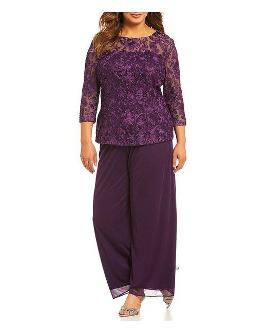 Alex Evenings | Purple Plus 2-piece Embroidered Pant Set | Lyst