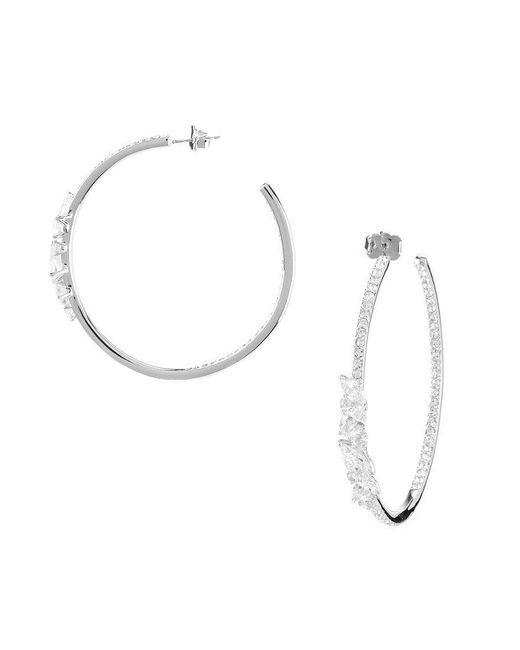 Nadri | Metallic Prism Cubic Zirconia Hoop Earrings | Lyst