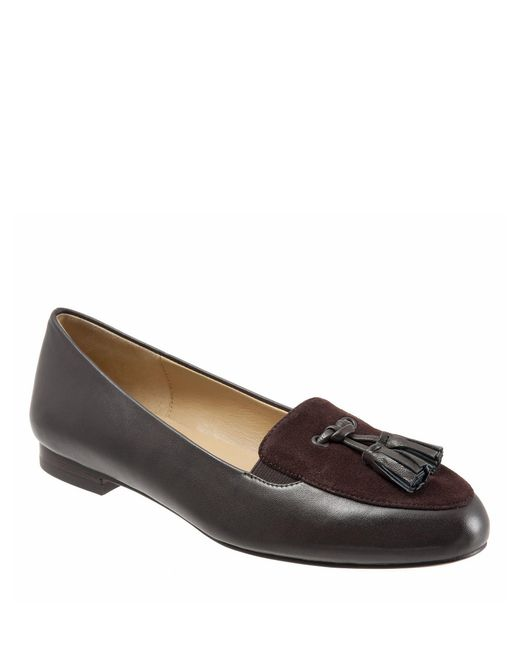 Trotters Brown Caroline Leather And Suede Tassel Loafers