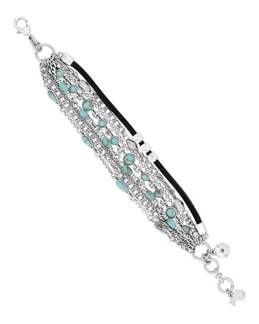 Lucky Brand - Metallic Mini Turquoise Stone Layer Line Bracelet - Lyst