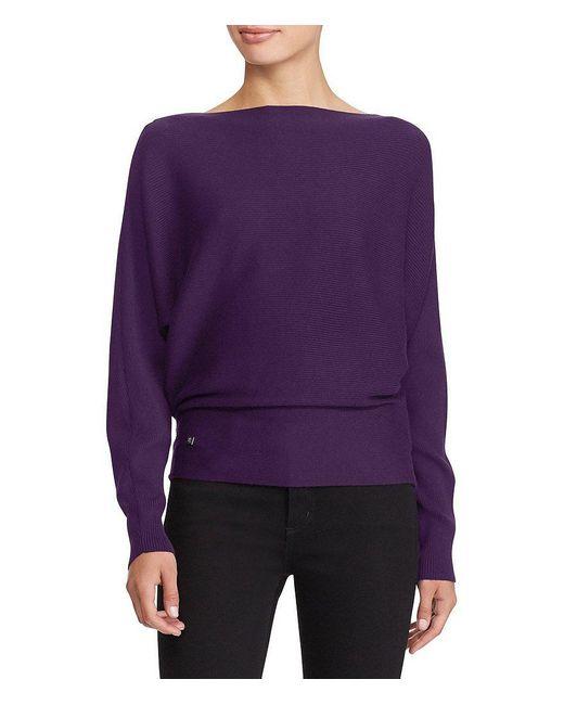 Lauren by Ralph Lauren   Red Cotton-blend Dolman Sweater   Lyst