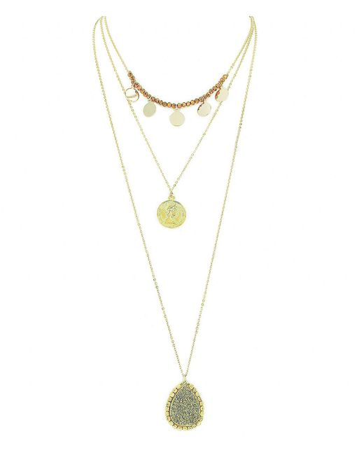 Panacea - Metallic Three Layer Stone And Crystal Necklace - Lyst