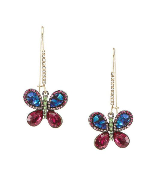 Betsey Johnson | Multicolor Multi-color Butterfly Drop Statement Earrings | Lyst