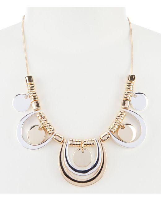 Dillard's - Metallic Two Tone Statement Necklace - Lyst