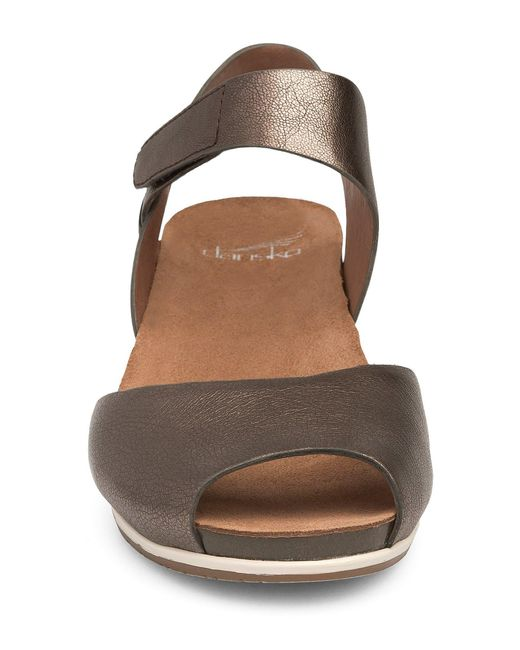 d7856cf01060 ... Dansko - Multicolor Vera Metallic Nappa Leather Banded Ankle Strap  Wedge Sandals - Lyst ...