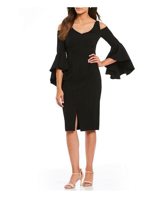 Maggy London - Black V-neck Cold-shoulder Flutter Sleeve Sheath Dress - Lyst