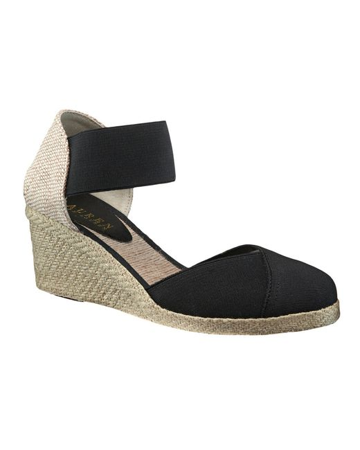lauren by ralph lauren charla espadrille wedge in black save 66 lyst. Black Bedroom Furniture Sets. Home Design Ideas