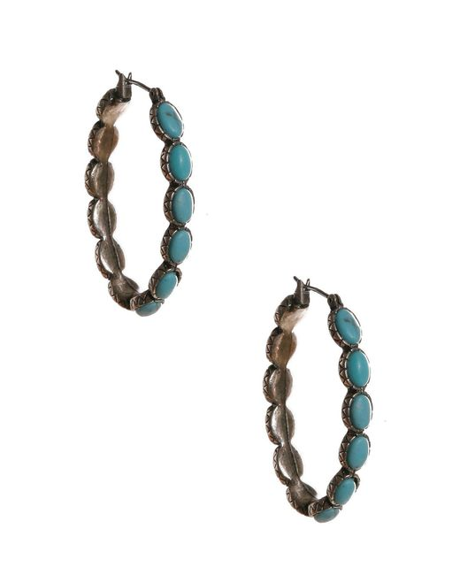 Lucky Brand | Blue Oblong Hoop Earrings | Lyst