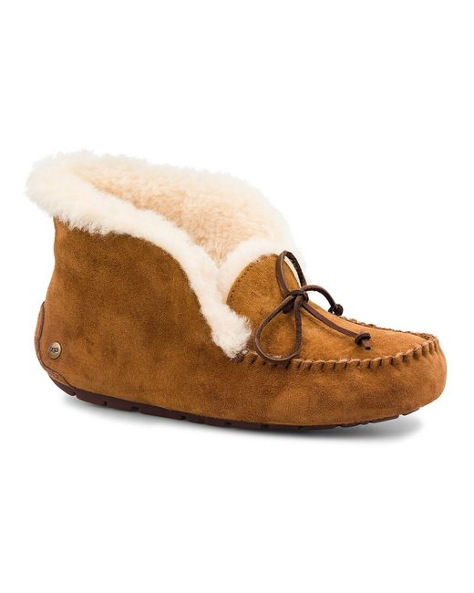 UGG | Brown ® Alena Bow Detail Waterproof Suede Slippers | Lyst