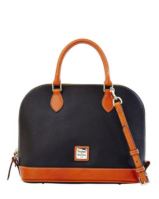 Dooney & Bourke | Black Zip Zip Pebbled Leather Satchel | Lyst
