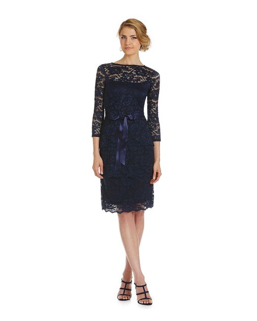 Marina | Black Tiered Stretch Lace Sheath Dress | Lyst