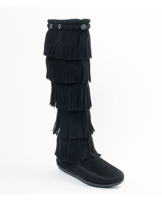 Minnetonka | Black 5-layer Fringe Boots | Lyst