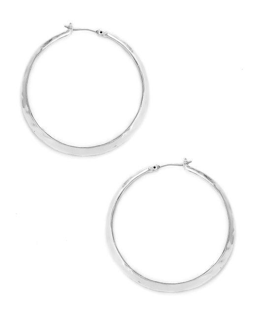 Kenneth Cole | Metallic Silver Textured Hoop Earrings | Lyst