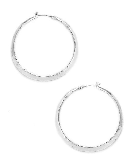 Kenneth Cole | Metallic Silver Textured Hoop Earrings | Lyst