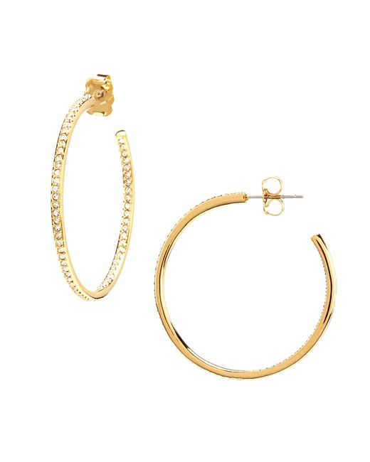 Nadri | Metallic Pavé Medium Hoop Earrings | Lyst