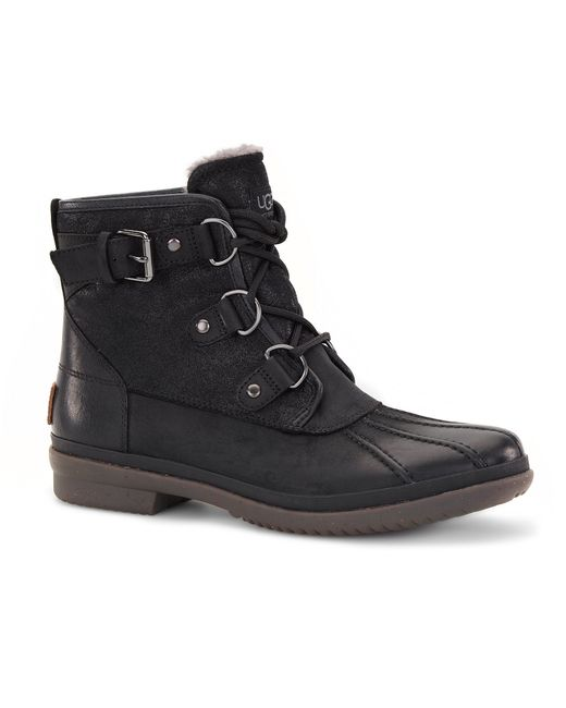 UGG | Black ® Cecile Cold-weather Waterproof Lace Up Leather Duck Booties | Lyst
