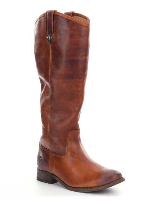 Frye | Brown Melissa Button Wide Calf Riding Boots | Lyst