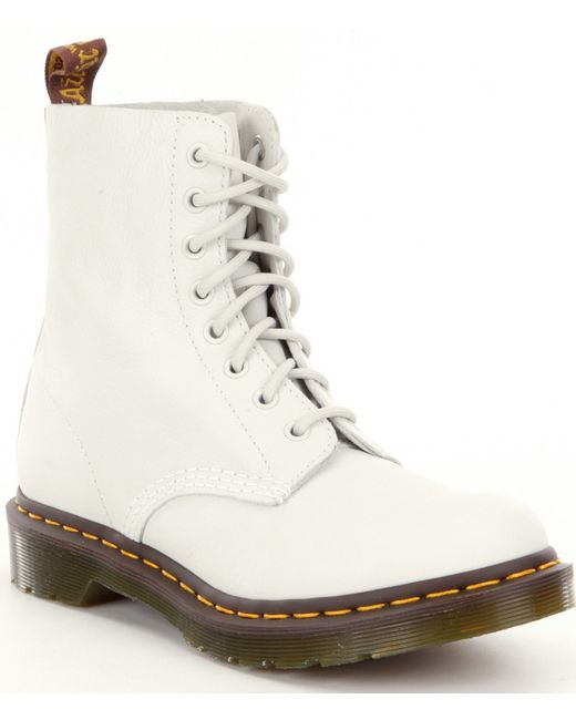 Dr. Martens | White Pascal 8-Eye Leather Ankle Boots | Lyst