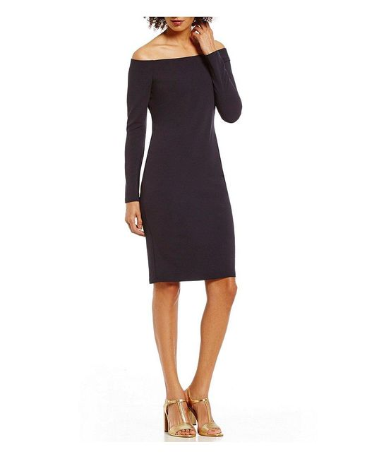 Eliza J | Blue Off The Shoulder Long Sleeve Sheath Dress | Lyst