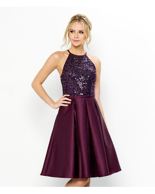 Carmen marc valvo Infusion Halter Party Dress in Purple  Lyst