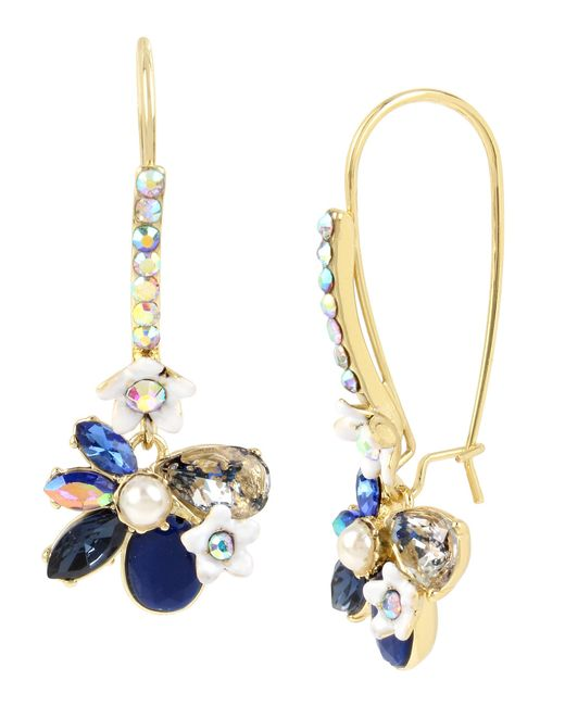 Betsey Johnson | Blue Faceted Stone Flower Drop Earrings | Lyst