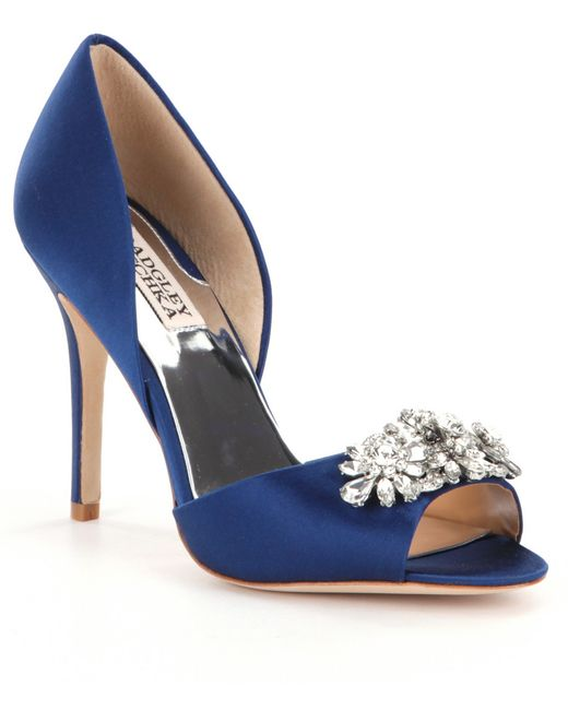 Badgley mischka giana jeweled satin d orsay pumps in blue for Badgley mischka store nyc