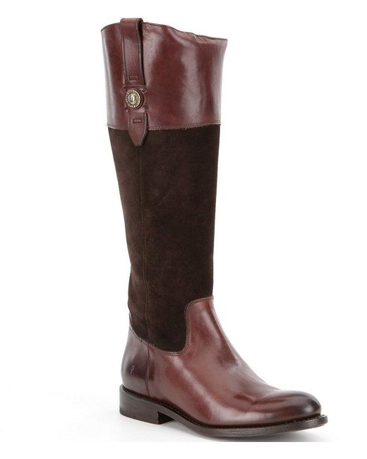 Frye | Black Jayden Button Suede And Leather Tall Riding Boots | Lyst