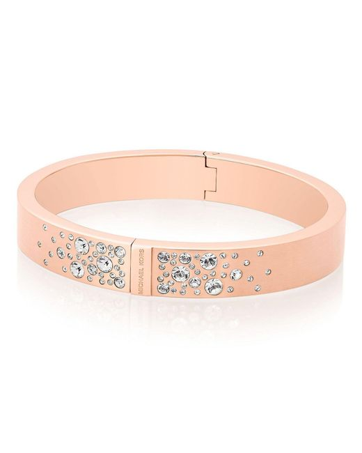 Michael Kors | Pink Modern Brilliance Crystal Hinged Bangle Bracelet/rose Goldtone | Lyst
