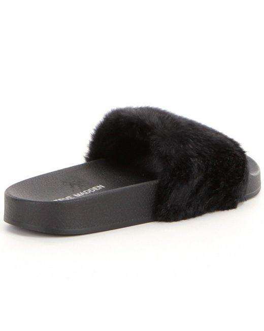 Steve Madden Softey Faux Fur Slide On Sandals In Black