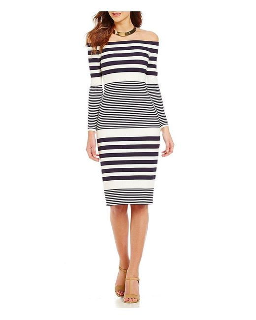 Eliza J | Multicolor Off-the-shoulder Long Sleeve Stripe Sheath Dress | Lyst