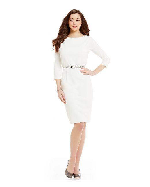 Antonio melani Cindy Scuba Crepe 3/4 Sleeve Belted Dress ...