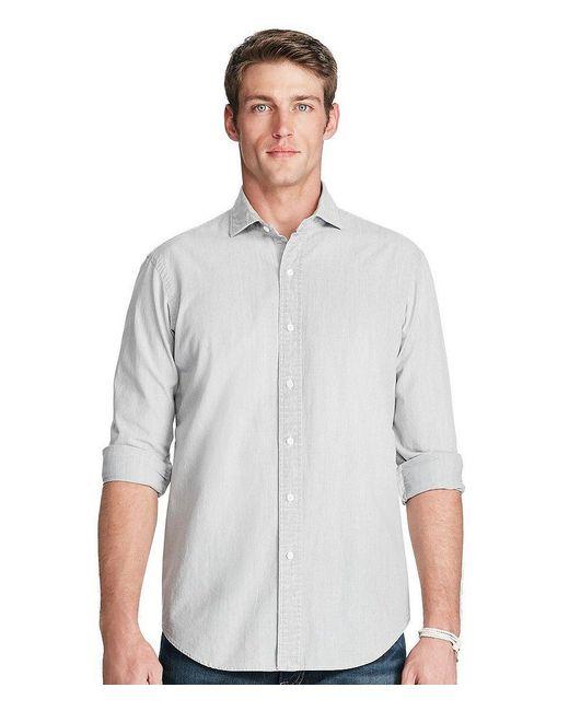 Polo Ralph Lauren | Gray Men's Big & Tall Cotton Chambray Sport Shirt for Men | Lyst
