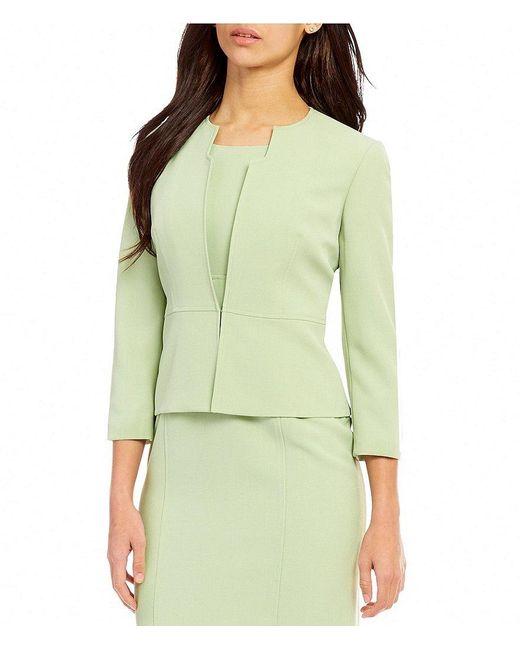 Kasper   Green Petite Round Neck 3/4 Sleeve Solid Stretch Crepe Jacket   Lyst