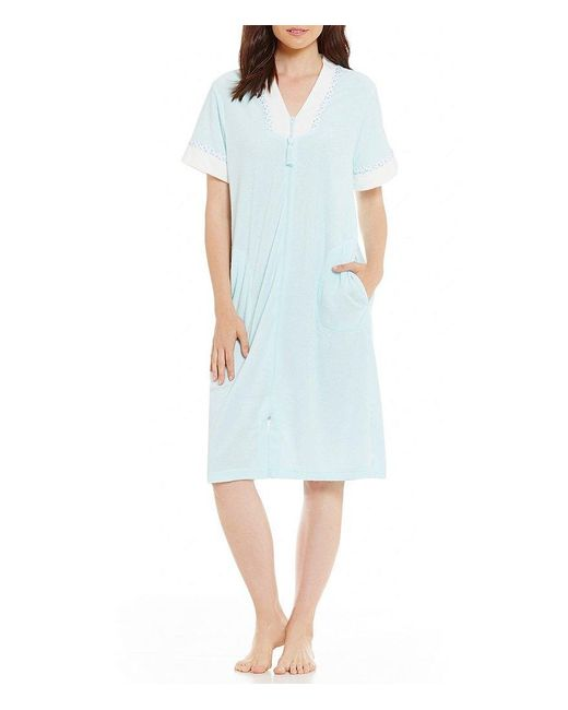 Miss Elaine | Blue Short Zip-front Stretch Terry Robe | Lyst