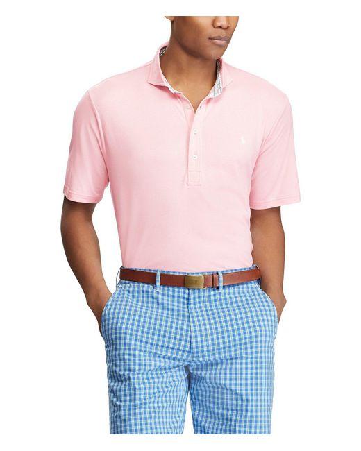 Polo Ralph Lauren - Pink Polo Golf Active-fit Interlock Short-sleeve Polo Shirt for Men - Lyst