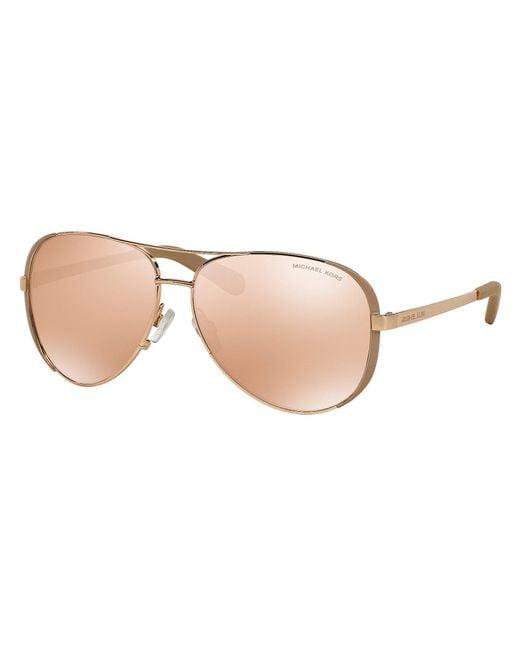 Michael Kors - Metallic Chelsea Metal Uva/uvb Protection Aviator Sunglasses - Lyst