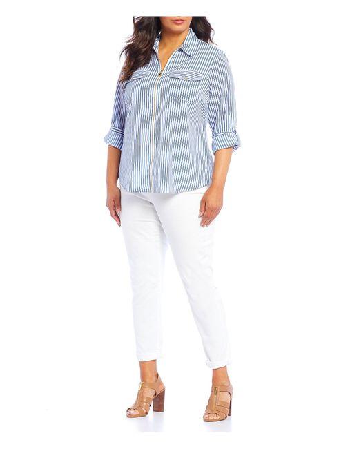 5f9f631492c ... MICHAEL Michael Kors - White Plus Size Railroad Stripe Print  Roll-sleeve Zip Front Top