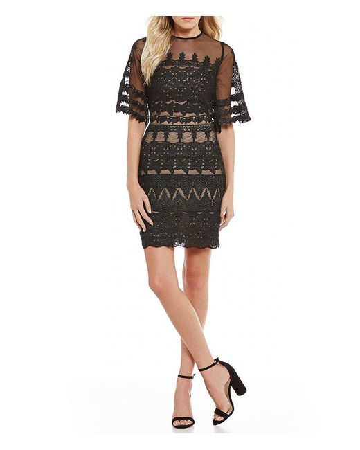 Nicole Miller Artelier | Black Lace Bell Sleeve Sheath Dress | Lyst
