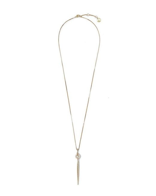 Vince Camuto - Metallic Pearl Pav Pendant Necklace - Lyst