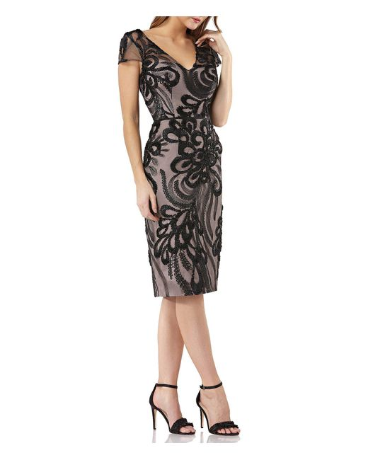 JS Collections - Black Embroidered Mesh Cap Sleeve Dress - Lyst