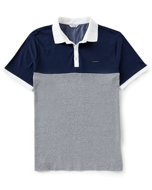 Calvin Klein - Blue Color Block Chest Stripe Short-sleeve Polo Shirt for Men - Lyst