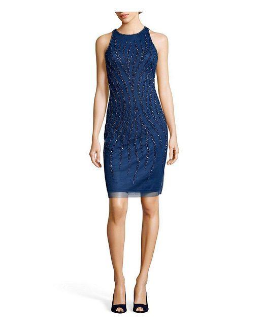 Adrianna Papell - Blue Beaded Halter Sheath Dress - Lyst
